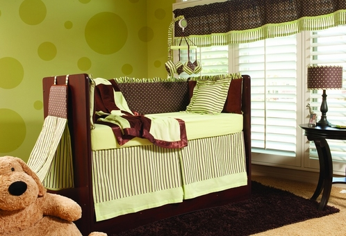 Chocolate Mint Baby Bedding - 4 pc Crib Set - Click to enlarge