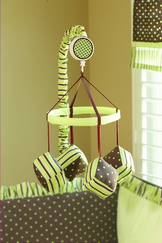 Chocolate Mint Musical Baby Crib Mobile - Click to enlarge