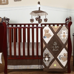 Chocolate Teddy Bear Baby Boys Bedding - 11pc Crib Set