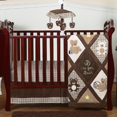 Chocolate Teddy Bear Baby Boys Bedding - 4pc Crib Set