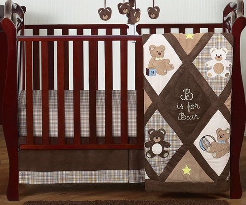 Chocolate Teddy Bear Baby Boys Bedding - 4pc Crib Set - Click to enlarge