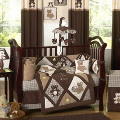 Chocolate Teddy Bear Baby Boys Bedding 9pc Crib Set