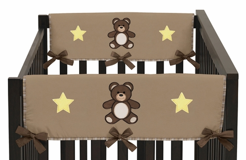 Chocolate Teddy Bear Baby Crib Side Rail Guard Covers by Sweet Jojo Designs - Set of 2 - Click to enlarge