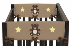 Chocolate Teddy Bear Baby Crib Side Rail Guard Covers by Sweet Jojo Designs - Set of 2