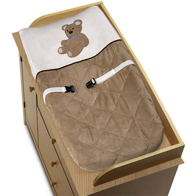 Chocolate Teddy Bear Boys Changing Pad Cover - Click to enlarge