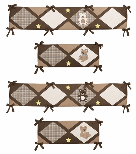 Chocolate Teddy Bear Collection Crib Bumper by Sweet Jojo Designs - Click to enlarge