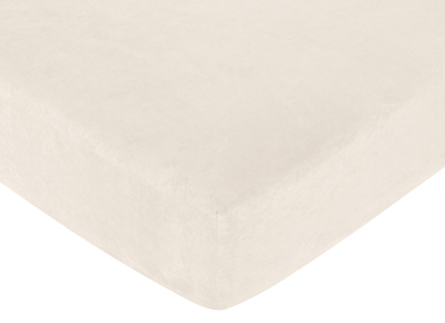 Chocolate Teddy Bear Fitted Crib Sheet for Baby and Toddler Bedding Sets by Sweet Jojo Designs - Cream Microsuede - Click to enlarge