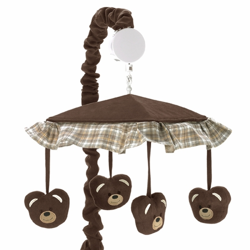 Chocolate Teddy Bear Musical Baby Crib Mobile by Sweet Jojo Designs - Click to enlarge