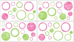 Circles Baby and Childrens Modern Wall Decal Stickers - Set of 4 Sheets