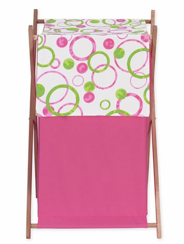 Circles Pink and Green Baby and Kids Clothes Laundry Hamper by Sweet Jojo Designs - Click to enlarge