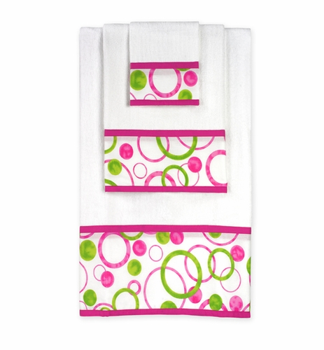Circles Pink and Green Baby and Kids Cotton Bath Towel Set - 3pc Set - Click to enlarge