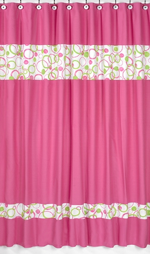 Circles Pink And Green Kids Bathroom Fabric Bath Shower Curtain Only