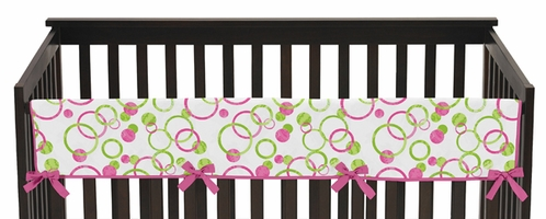Circles Pink and Green Modern Baby Crib Long Rail Guard Cover by Sweet Jojo Designs - Click to enlarge