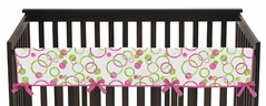 Circles Pink and Green Modern Baby Crib Long Rail Guard Cover by Sweet Jojo Designs