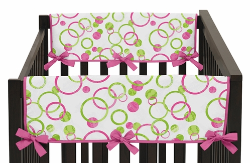 Circles Pink and Green Modern Baby Crib Side Rail Guard Covers by Sweet Jojo Designs - Set of 2 - Click to enlarge
