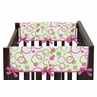 Circles Pink and Green Modern Baby Crib Side Rail Guard Covers by Sweet Jojo Designs - Set of 2