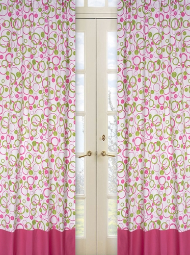 Circles Pink and Green Window Treatment Panels - Set of 2 - Click to enlarge