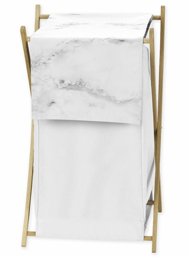 Clothes laundry hamper for grey black and white marble for Black and white marble bedding