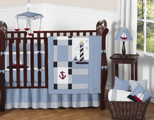 Come Sail Away Nautical Baby Bedding - 9 pc Crib Set - Click to enlarge