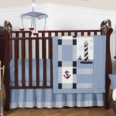 Come Sail Away Nautical Baby Bedding - 4pc Crib Set
