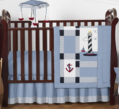 Come Sail Away Nautical Baby Bedding - 4pc Crib Set - Click to enlarge