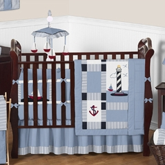 Come Sail Away Nautical Baby Bedding - 9 pc Crib Set