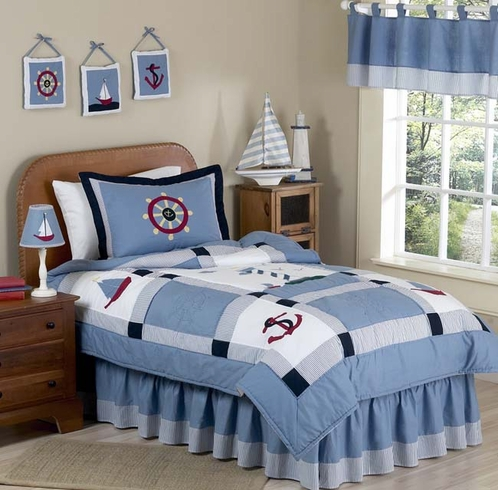 Come Sail Away Nautical Childrens Bedding - 3pc Full / Queen Set - Click to enlarge