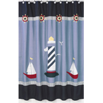 Come Sail Away Nautical Kids Bathroom Fabric Bath Shower Curtain