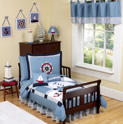 Come Sail Away Nautical Toddler Bedding - 5 pc Set - Click to enlarge