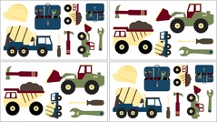 Construction Zone Baby and Childrens Trucks and Tools Wall Decal Stickers - Set of 4 Sheets