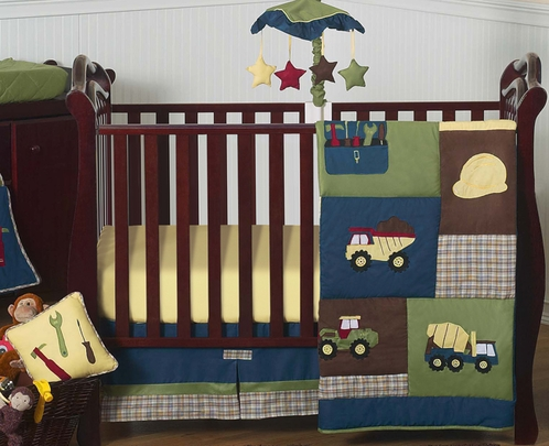Amazing Construction Zone Baby Bedding   11pc Crib Set   Click To Enlarge