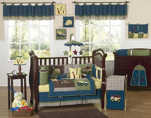 Construction Zone Baby Bedding 9 Pc Crib Set Click To Enlarge