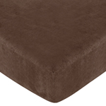 Construction Zone Fitted Crib Sheet for Baby and Toddler Bedding Sets by Sweet Jojo Designs - Solid Chocolate Microsuede