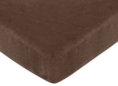 Construction Zone Fitted Crib Sheet for Baby and Toddler Bedding Sets by Sweet Jojo Designs - Solid Chocolate Microsuede - Click to enlarge