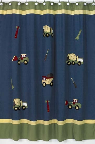 Construction Zone Kids Bathroom Fabric Bath Shower Curtain - Click to enlarge