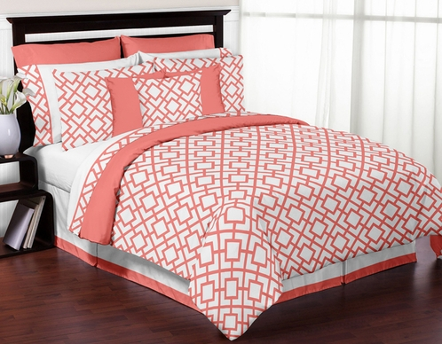 Coral and White Diamond 3pc Full / Queen Teen Girls Bedding Set by Sweet Jojo Designs - Click to enlarge