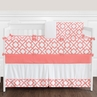 Coral and White Diamond Baby Bedding - 9pc Crib Set by Sweet Jojo Designs