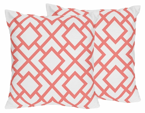 Coral and White Diamond Decorative Accent Throw Pillows - Set of 2 - Click to enlarge