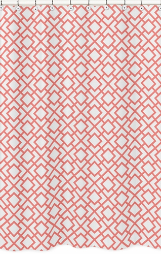 Coral and White Diamond Kids Bathroom Fabric Bath Shower Curtain by Sweet Jojo Designs - Click to enlarge