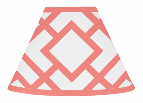 Coral and White Diamond Lamp Shade by Sweet Jojo Designs - Click to enlarge