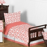 Coral and White Diamond Toddler Bedding - 5pc Set by Sweet Jojo Designs