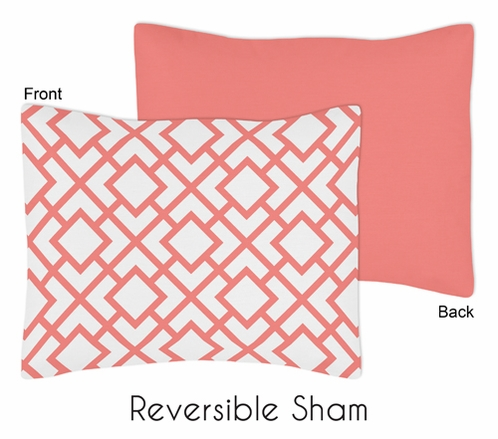 Standard Pillow Sham for Coral and White Diamond Bedding by Sweet Jojo Designs - Click to enlarge