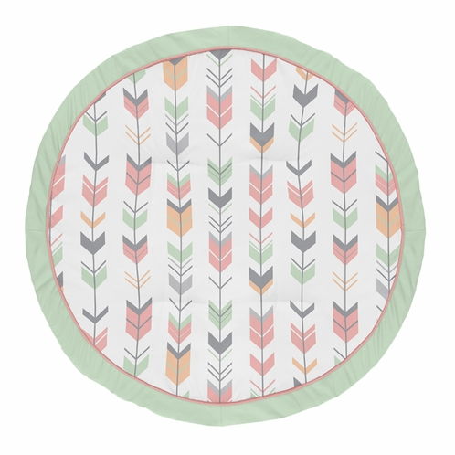 Coral, Mint and Grey Woodland Arrow Playmat Tummy Time Baby and Infant Play Mat for Woodsy Collection by Sweet Jojo Designs - Click to enlarge