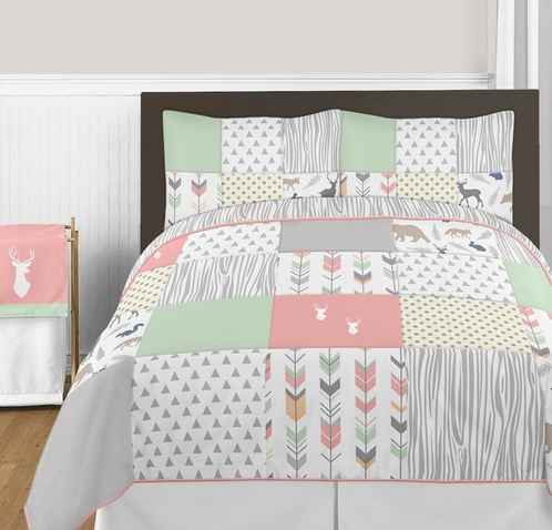 Coral, Mint and Grey Woodsy Deer 3pc Girl Full / Queen Bedding Set by Sweet Jojo Designs - Click to enlarge