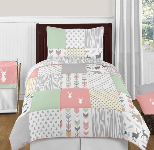 Coral, Mint and Grey Woodsy Deer 4pc Twin Girl Bedding Set by Sweet Jojo Designs - Click to enlarge