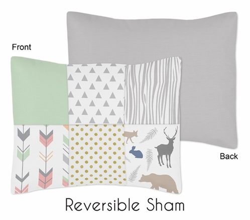 Standard Pillow Sham for Coral, Mint and Grey Woodsy Bedding by Sweet Jojo Designs - Click to enlarge