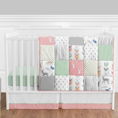 Coral, Mint and Grey Woodsy Deer Baby Bedding - 11pc Girls Crib Set by Sweet Jojo Designs