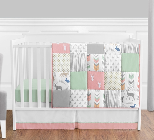 Coral, Mint and Grey Woodsy Deer Baby Bedding - 4pc Girls Crib Set by Sweet Jojo Designs - Click to enlarge