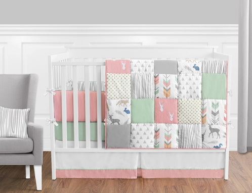 Coral Mint And Grey Woodsy Deer Baby Bedding 9pc Girls