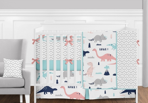 Coral, Turquoise, Navy Blue and Grey Modern Mod Dinosaur Baby Girls Crib Bedding Set with Bumper - 9 Pieces - Click to enlarge